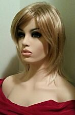 Straight Strawberry Blonde Layered Wig Long Sideswept Bangs Lightly Rooted