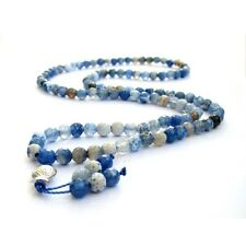 Faceted Blue Agate Gem Tibet Buddhist Prayer Beads Mala Necklace--108Beads--6mm