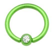 piercing anneaux vert bille 5 mm diam de la tige 1,6 mm dian intérieur 11 mm