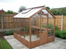 8 x 6 Timber  Wooden  Wood  Joinery made Greenhouse Tannalised Erected