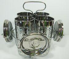 Mid-Century Modern Kimiko Platinum Gladiator Coaster Glass Set with Holder