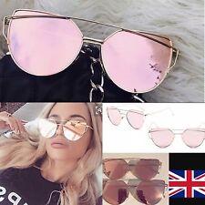Designer inspired luxury Rose Gold Cat Eye Mirrored Sunglasses UV400
