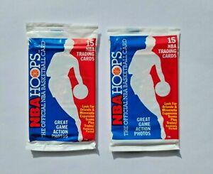 1989 NBA Hoops Basketball Packs (2, 30 Cards) Akeem Olajuwon Showing on Top