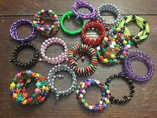 Vintage Japan Colorful Trendy Mix Style 16 Lucite Beaded Coil Wrap Bracelet Lot