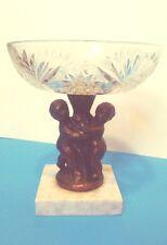 Antique Clear Cut Crystal Glass Brass Cherub Candy Dish Marble Base