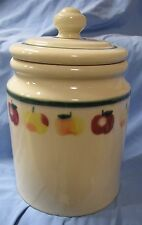 HARTSTONE POTTERY STONEWARE LG 5 LB CANISTER COOKIE JAR RED & YELLOW APPLES