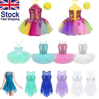 UK Kid Girl Modern Jazz Sequin Dance Dress Ballet Leotard Tutu Dancewear Costume