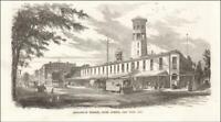 JEFFERSON MARKET now LIBRARY, NEW YORK CITY, antique engraving original 1857