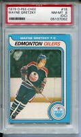 1979 OPC Hockey #18 Wayne Gretzky Rookie Card Graded PSA NM MINT 8 OC O-Pee-Chee