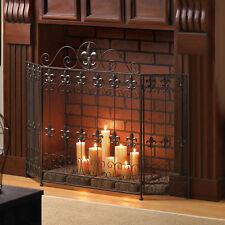 FIREPLACE SCREEN: Fleur De Lis FRENCH REVIVAL Black Wrought Iron Fire Sheild NEW