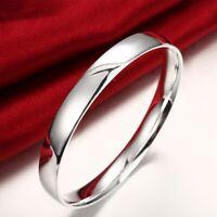Womens Silver Smooth Bangle Fashion Bracelet #B392
