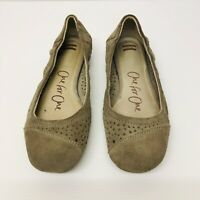 TOMS One For One Womens Ballet Flat Shoes Size 8W Camel Beige Suede Slip-On