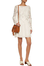New Auth. $595 See by Chloe Lace Cotton Voile Natural Dress Sz. 44