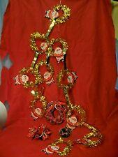 4Pcs Christmas Miniature Braid Wreaths Gold Santa Garland Poinsettia Candle Ring