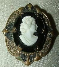 1910 Edwardian Brass Cameo Pin Brooch White on Black French Jet