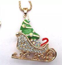 Betsey Johnson Necklace Santa's Sleigh Gold Sparkles Christmas