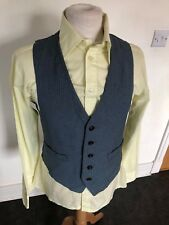 VINTAGE 70'S LIGHT BLUE PINSTRIPE MOD RETRO DAPPER WAISTCOAT VEST SMALL