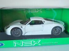 Porsche 918 Spyder. White. Welly NEX Models. 1:18 Scale. MIB