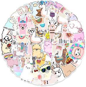 50Pcs Cute Llama Rainbow Vinyl Stickers - Alpaca Girls Laptop Luggage Sticker UK