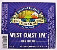 Green Flash Brewing  WEST COAST IPA  beer label CA 12oz  Var. #2