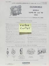 1954 OLDSMOBILE SUPER 88 -98  FICHE CARBURATEUR CARBURETER CARTER