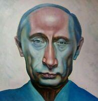 VLADIMIR PUTIN  Portrait Öl auf Leinwand Gemälde Gr. ca. 33x33 cm