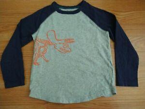 Mini Boden Dinosaur Triceratops Raglan Tee Shirt Sz 3-4 Gray & Blue