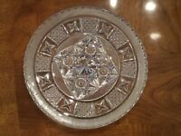 "ABP AMERICAN BRILLIANT PERIOD CUT CRYSTAL STAR Button 10""  PLATTER 1890-Gorgeous"
