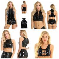 Women Wet Look Tank Tops PU Leather Crop Top Buckles Backless Punk Club Vest
