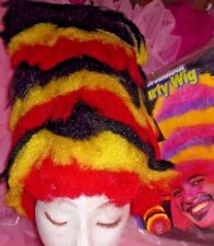 NEW/PKG Crazy 3 color Tall Party Wig RUbies black yellow red coral snake