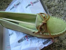 NEW MINNETONKA CANVAS MOCCASIN SHOES  WOMENS 8 LIME MOCS FREE SHIP