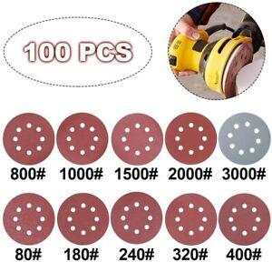 100x125mm 8 Loch Schleifscheiben Set Klett Schleifpapier Schleifblätter Exzenter