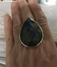 Solid Silver with Labradorite Stone Ring