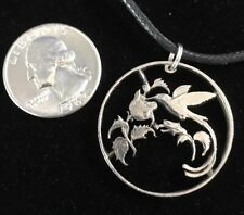 Hummingbird Cut Coin Jamaica Quarter Jewelry Pendant by Andy Garon the Coinmon
