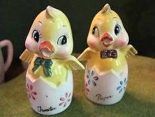 "VINTAGE BABY CHICK SALT AND PEPPER SHAKERS "" JAPAN "" VERY OLD!!"
