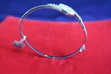 HAND SET .925 STERLING SILVER FANCY LADIES BANGLE WITH SWAROVSKI ZERCONIA STONES