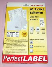 DATA BECKER Etiquetas 63 , 5x29, 6mm BLANCO DIN A4 675 Etiquetas