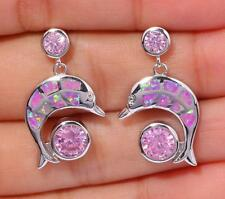 **NEW** Silver/Rhodium Plated PINK LAB FIRE OPAL/PINK TOPAZ DOLPHIN EARRINGS