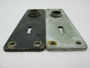 "2 Antique Diff. Door Plates Standard Type for Skeleton Keys 1 13/16 x 5 11/16"" G"