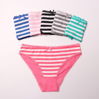 5Pcs Women Girls Cotton Striped Briefs Panties Casual Soft Underwear Lingerie
