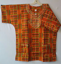 Men Clothing African Kente Print Dashiki Top Ethnic Shirt Blouse Boho Free Size