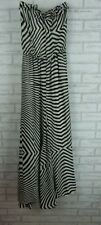 CHARLIE BROWN Maxi Dress Sz 8 Black, White Stripe Strapless