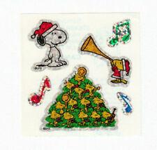 Vtg Sandylion Glitter Cute Peanuts Snoopy Holiday Caroling Woodstock Sticker