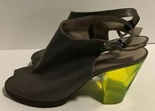 MARC BY MARC JACOBS GRAY LEATHER SLINGBACK OPEN TOE NEON ACRYLIC HEELS EUR 37