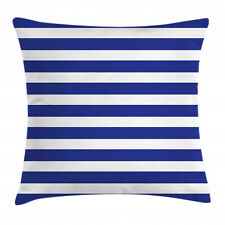 Striped Throw Pillow Case Navy Nautical Marine Square Cushion Cover 16 Inches