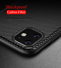 For iPhone 12 11 Pro Max X XR Shockproof Carbon Fiber Bumper Soft TPU Case Cover