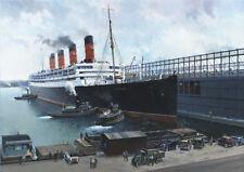 RMS Aquitania Manhattan New York Cunard Ocean Liner Cruise Ship Birthday Card