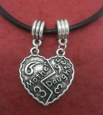Mother Daughter Necklace Charm Pendant and Leather Necklace Heart Mum