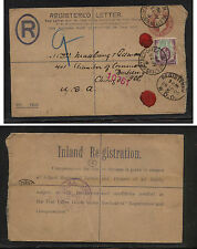 Great Britain uprated registered postal envelpe 1906 to Us Mm0604