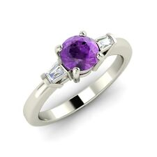 .46 Ct Natural Purple Amethyst Engagement Ring in 14k White Gold with VS Diamond